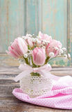Romantic bouquet of pink tulips and gypsophilia paniculata Royalty Free Stock Photography