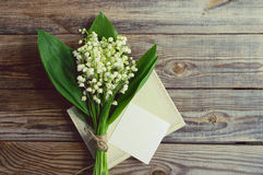 Romantic bouquet with spring lilies of the valley Royalty Free Stock Photo