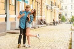 Romantic boy and girl royalty free stock image
