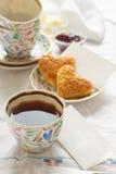 Romantic breakfast. With tea, jam, butter and scones Stock Image