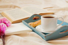 Romantic breakfast in the bed and blank note for adding text Royalty Free Stock Images
