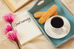 Romantic breakfast in the bed Royalty Free Stock Image