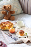 Romantic breakfast in bed Stock Photos