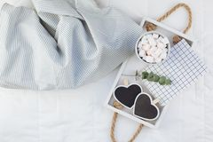 Romantic breakfast in bed. Valentine concept stock photo