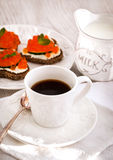 Romantic breakfast with coffee and toasts Royalty Free Stock Photo