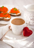 Romantic breakfast with coffee and toasts Royalty Free Stock Photos