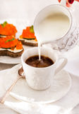 Romantic breakfast with coffee and toasts Stock Photography