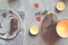 Romantic breakfast for a couple in love. Engagement ring in the box. The ring as a symbol of love Royalty Free Stock Image
