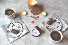 Romantic breakfast for a couple in love. Engagement ring in the box. The ring as a symbol of love Stock Images