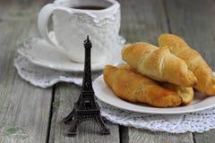 Romantic breakfast. Croissants with coffee for romantic breakfastglazenShallow DOF Stock Photo