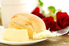 Romantic breakfast with flowers Stock Images
