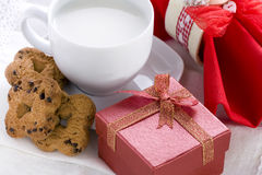 Romantic Breakfast with Gift Box stock photography