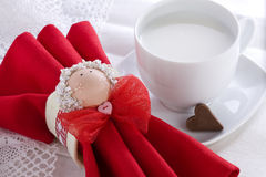 Romantic Breakfast with Heart Shaped Chocolate Stock Photo