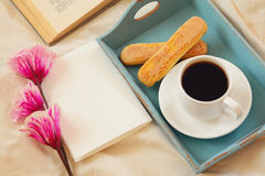 Romantic Breakfast In The Bed: Cookies, Coffee, Flowers Stock Images
