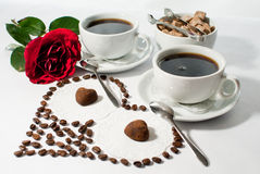 Romantic breakfast. For lovers on white background Royalty Free Stock Images