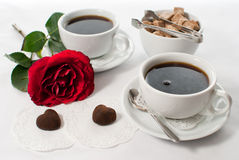 Romantic breakfast. For lovers on white background Royalty Free Stock Image