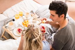Romantic breakfast with orange juice and coffee Royalty Free Stock Photos