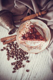 Romantic breakfast with pie and coffee Royalty Free Stock Photo