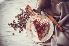 Romantic breakfast with pie and coffee Royalty Free Stock Image
