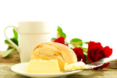 Romantic breakfast with roses Stock Photo