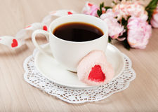 Romantic breakfast tea and dessert in the form of heart Royalty Free Stock Photography