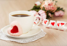 Romantic breakfast tea and dessert in the form of heart Royalty Free Stock Image