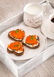 Romantic breakfast-toasts  with red caviar and coffee Stock Photos