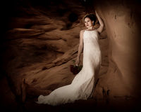 Romantic bride 1. Bride in the canyon of fire Royalty Free Stock Photos