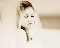 Romantic bride 11. Bride in stranded in desert Royalty Free Stock Images