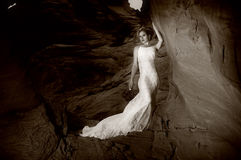Romantic bride 1a. Bride in the canyon of fire Royalty Free Stock Photography