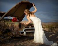 Romantic bride 4. Bride in stranded in desert Stock Photography