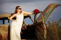 Romantic bride 8. Bride in stranded in desert Stock Photography