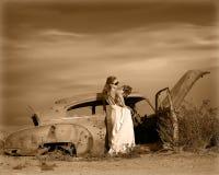 Romantic bride 9. Bride in stranded in desert Stock Image