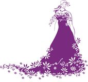 Romantic bride with a folwwred dress Stock Images