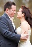 Romantic Bride And Groom On Wedding Day Stock Photo