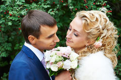 Romantic bride and groom Royalty Free Stock Photos