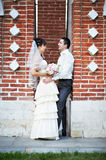Romantic bride and groom at wedding walk Royalty Free Stock Photography