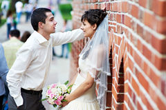 Romantic bride and groom at wedding walk Stock Photography