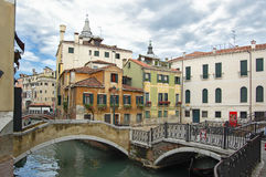 Romantic bridge over canal in of Venice Royalty Free Stock Image