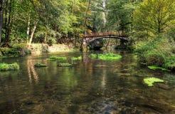 Romantic bridge over water Royalty Free Stock Photo