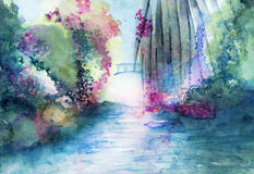 Romantic bridge and water landscape fantasy watercolor Royalty Free Stock Image
