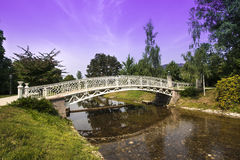 Romantic bridges over the Oos River in the city park of Baden-Baden Royalty Free Stock Image