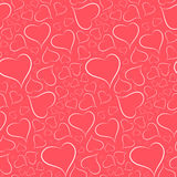 Romantic bright background with a white outline heart seamless p - vector Royalty Free Stock Photos