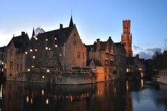 Romantic Bruges in Belgium. The medieval little town of Bruges in Belgium. At night it becomes even more beautiful and romantic. Bruges is one the Unesco royalty free stock image