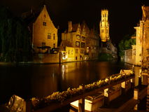Romantic Bruges Canal at Night Stock Photography