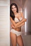 Romantic brunette girl in lingerie. Stock Image