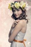 Romantic brunette woman Stock Photos