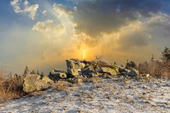 Romantic Brunhildis rock at the top of the Feldberg in Germany stock photography