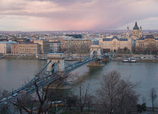 Romantic Budapest, Hungary in Winter, with Szechenyi Chain Bridge in view Royalty Free Stock Photos