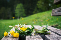 Romantic bunch of yellow flowers Royalty Free Stock Image
